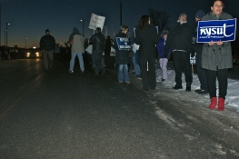 The main driveway into Oneida-Herkimer-Madison B.O.C.E.S. is already filling with NYSUT and public school supporters.