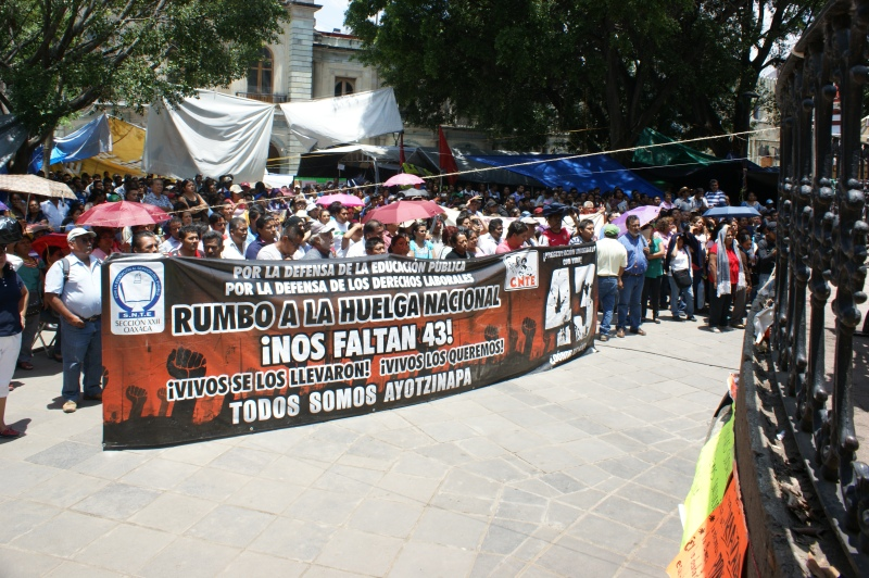An encampment and protest of teachers, union members and activists with the APPO in Oaxaca City.