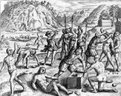 Spanish colonizers cutting the noses and hands off of indigenous Americans.