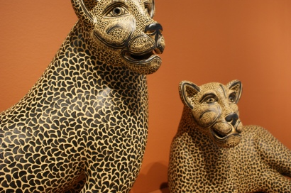 Jaguars inside the Casa. Jaguars are important in Maya culture.