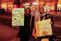 Local Muslims at the pro refugee rally held in Utica. The rally had a strong anti-war and anti-terrorism message.