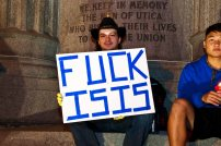 Marco Martoccia holds a message for Daesh.