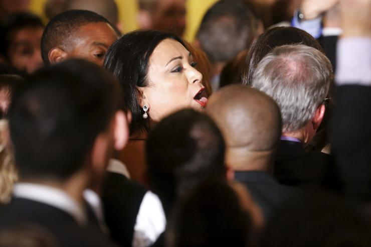 Jennicet Gutierrez interrupts President Obama on deportations at White House speech. (Photo: Jonathan Ernst/Reuters)