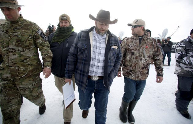 Ammon Bundy departs after addressing the media at the Malheur National Wildlife Refuge near Burns
