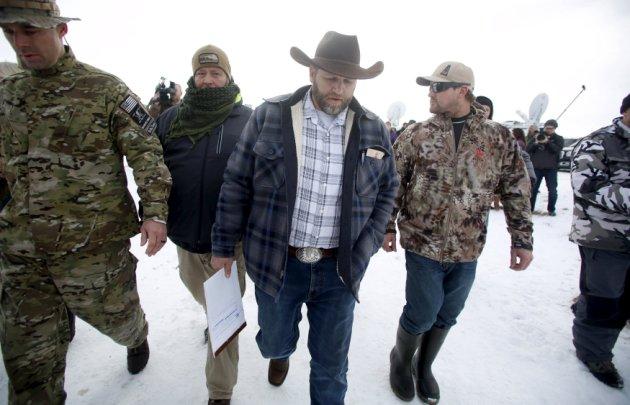 Ammon Bundy departs after addressing the media at the Malheur National Wildlife Refuge near Burns