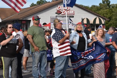 Trump and Tenney supporters rally in front of Dave's Diner which sponsored and promoted the event. (Photo Credit: Love and Rage)