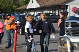 Claudia Tenney regularly attends Back the Blue rallies. Here she is laughing with one of her supporters who was yelling racist remarks at BLM activists and made supportive comments of the KKK. (Photo Credit: Love and Rage)